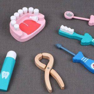 bộ đồ chơi vệ sinh răng bằng gỗ