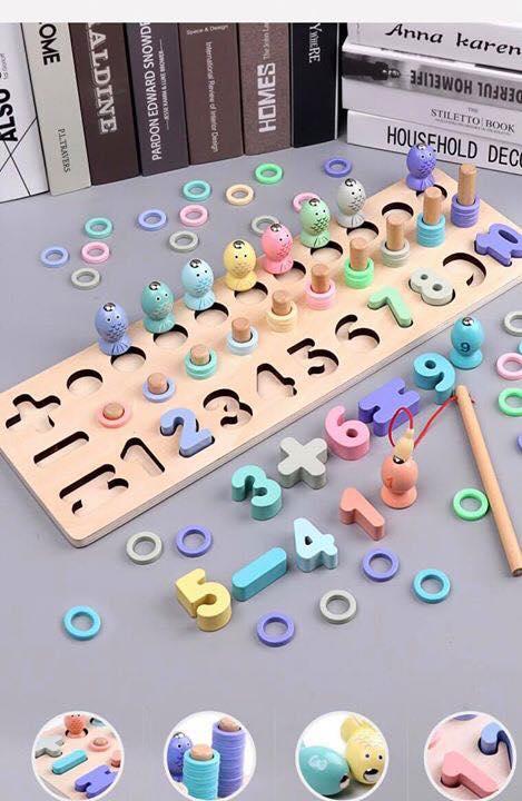 Bộ đồ chơi gỗ Làm toán, câu cá và xỏ vòng 3in1