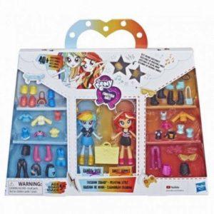 Hộp Pony Equestria Girls và tủ quần áo thời trang mẫu Rainbow Dash và Sunset Shimmer