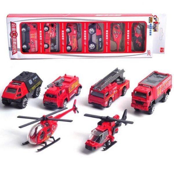 Bộ đồ chơi 6 xe cứu hoả và máy bay trực thăng cứu hộ siêu hot