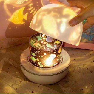 Đèn ngủ cho bé yêu chiếu trần 3D xoay 360 độ với 6 chủ đề