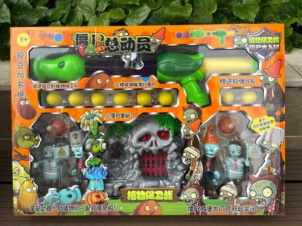Bộ mô hình đồ chơi súng bắn Zombie mô phỏng game Plant vs Zombie mẫu 2