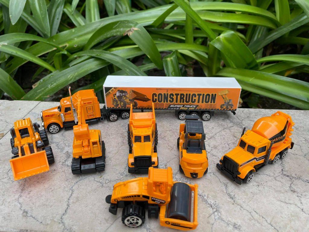Bộ đồ chơi mô hình 7 xe công trình tỉ lệ 1 phần 64