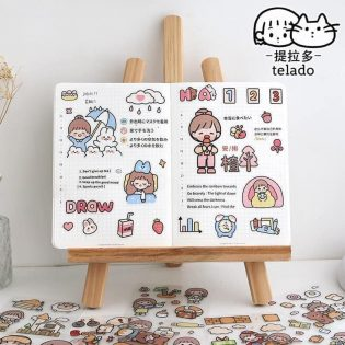 Hộp 1000 hình sticker dán cực cool cho bé Telado Hãng chuyên washi sticker chủ đề như này nè, cute đáng yêu lắm lắm, kèm cả hộp xinh đẹp làm quà tặng hết ý.