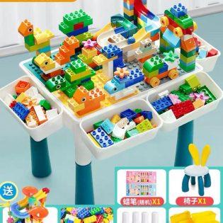 Bàn lắp ghép lego xếp hình đa năng size to kèm ghế