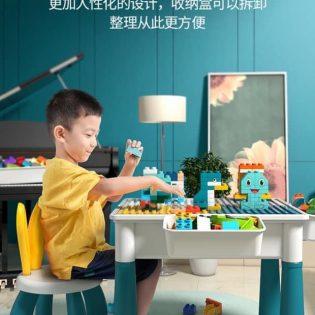 Bộ Bàn đa năng lego có thể vừa làm bàn học, vừa làm bàn chơi, bàn lắp lego, bàn ăn, chứa đồ dùng cho bé.