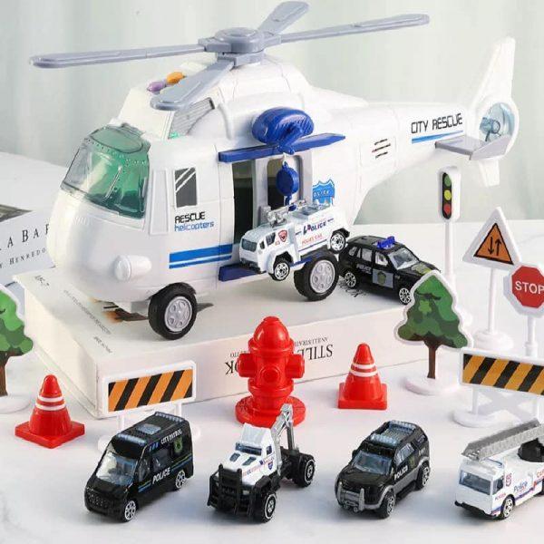 Hộp đồ chơi máy bay trực thăng cứu hộ và 6 xe ô tô