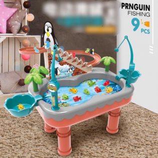 Bàn câu cá và chim cánh cụt leo cầu thang 2 trong 1